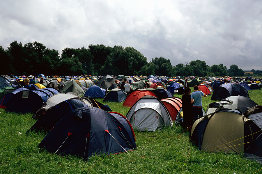 Camping field full of tents