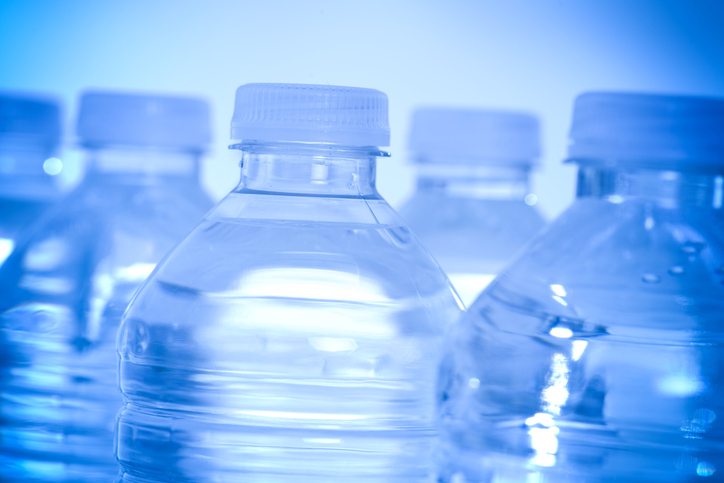 Close up of five water bottles